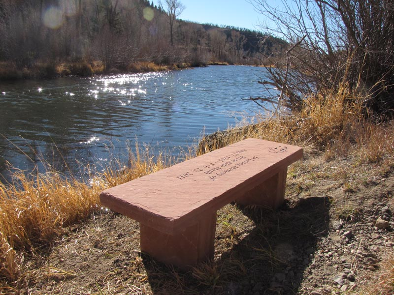 Custom Stone Memorial Bench - River Side