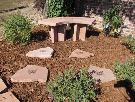 Memorial Bench with Memorial Stones