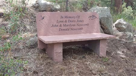 memorial bench with back